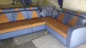 wood l shape dual color sofa set rs