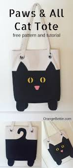 Tote Bag Designs Patterns Paws And All Cat Tote Free Sewing Pattern Sewing