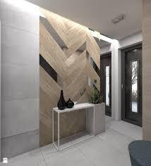 wood and mirror chevron wall