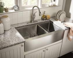 Relaxing undermount kitchen sink white ideas Decor Superwhitegranitecountertopwithstainlesssteelfarmhouse Notaspongecom Decorating Stainless Steel Farmhouse Sink For Interesting Kitchen