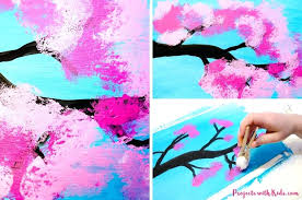 cherry blossom paint painting with cotton is the perfect spring art project for kids diy cherry blossom paint
