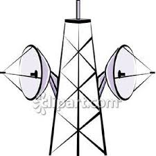 microwave clipart. microwave dishes on a tower - royalty free clipart picture