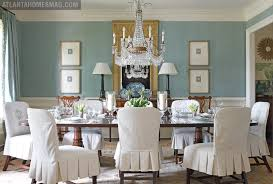 dining room blue paint ideas. The Dining Room Sparkles In Its Well-edited Details, With Pleated Slipcovers Adding A Charming Touch Around Traditional Mahogany Table. Blue Paint Ideas