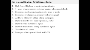 Sales Coordinator Job Description Youtube