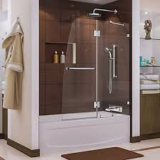 tub shower doors. Aqua Lux 48-inch X 58-inch Semi-Frameless Pivot Tub/Shower Door In Chrome With Handle Tub Shower Doors