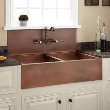 Double Bowl Farmhouse Sink With High Back Splash Antique Copper