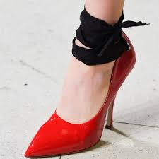 red patent leather strappy heels pointy toe ankle wrap stis pumps image 1
