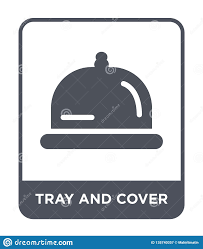Design Style Tray Tray And Cover Icon In Trendy Design Style Tray And Cover