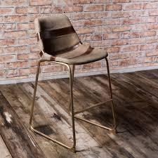 vintage leather metal galloway bar stool brass black