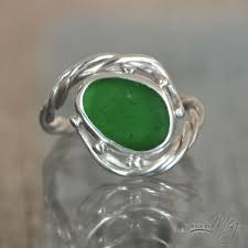 the timor custom sea glass engagement ring with green sea glass made by meg