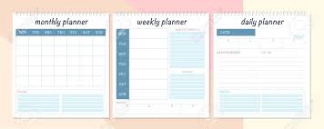 Monthly Weekly Daily Planner Vector Set Of Monthly Weekly And Daily Planner Page Design