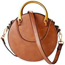 com leather round purse fashion tote bag cross bag for women brown brown shoes