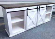custom handcrafted sliding barn door console available in the size and finish of your