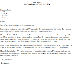 chef cover letter sample speculative covering letter examples