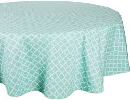 dii round lattice cotton tablecloth for weddings picnics spring parties and everyday use 70 round aqua blue and white
