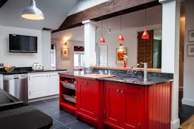 Red Floor Tiles For Kitchen Interior Fancy Wall Mounted Dark Brown Cherry Wood Cabinet And