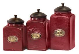 red ceramic canister and set of three gold kitchen canisters rose storage containers sets
