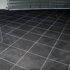 dark grey with light grey grout garage flooring tiles ideas