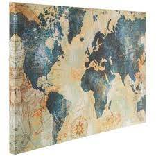 blue gold world map canvas wall decor