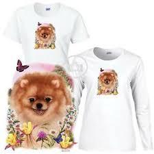 Details About Pomeranian Dog Floral Art Scene Ladies Short Long Sleeve White T Shirt S 3x