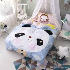 100 cotton cute animal monkey panda bedding sets comforters pillow sham bed sheets quilts cover children teen gift fl striped white and grey
