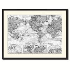 wall art map awesome world ocean curs vintage b w map canvas print picture frame of wall