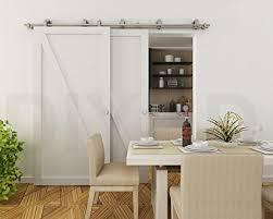 diyhd stainless steel byp sliding hardware top mount barn door kit for low ceiling 8ft