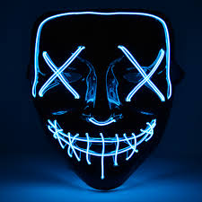 Led Light Up Mask Purge Halloween Neon Mask Light Up Purge Mask Skull Funny Costume Election Party Masks Glow In Dark Scary Movie Cosplay Supply