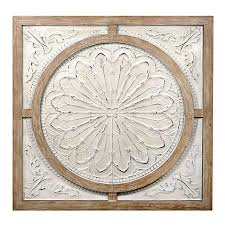 cream metal and wood medallion wall