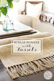 DIY Burlap Table Runner with Tassels | Easy, no sew step-by-step