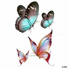 98x6cm Akvarel Motýl Dočasné Tetování Nálepka Vodotěsné ženy Fake Tetování Muži Děti Tělo Umění Horké Provedení A 048