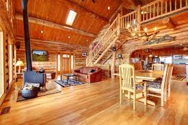40 Incredible Airy Living Rooms With Kitchen Openings TONS OF VARIETY Gorgeous Log Cabin Living Room Concept