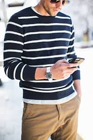 great men s outfit for warm weather striped sweater khaki great men s outfit for warm weather striped sweater khaki joggers silver watch