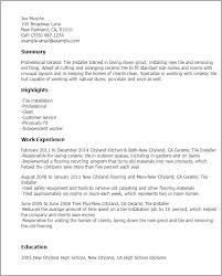 Resume Templates: Ceramic Tile Installer
