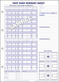 Basketball Score Chart Glovers Basketball Scorebooks