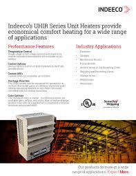 uhir series unit heater indeeco uhir s sheet