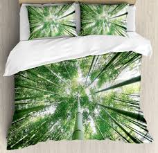 details about green duvet cover set with pillow shams tropic rain forest bamboo print