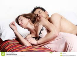 Lovely Couple In Bed Lying In Bedroom Young Lovely Couple Sleeping Together Stock Photos Images