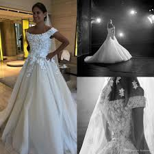 elie saab 2019 wedding dresses off shoulder lace 3d fl appliques pearls elie saab a line wedding dress custom made bridal gowns tea length