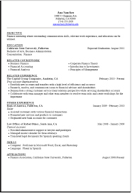 Resume Objective For Internship Internship Resume Sample Career Center Csuf