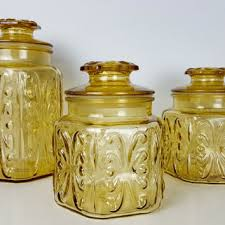 set of 3 vintage amber glass jars imperial glass atterbury scroll kitchen canister yellow