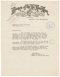 letter from women of the ku klux klan to president calvin coolidge view add