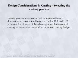 Design Considerations In Casting Process Metal Casting Design Materials And Economics Ppt Download