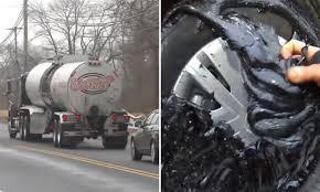 Liquid Asphalt Sticky Situation Tanker Truck Unknowingly Spills Liquid Asphalt For