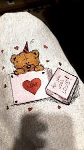 Romantic Embroidery Designs Teddy Bear In Box Embroidery Design Happy Birthday