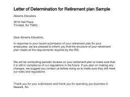 letter of determination for retirement plan sample 183 0