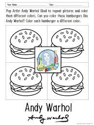 Andy Warhol Coloring Sheets Art Elementary Art Andy Warhol Art