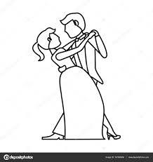 Couple Wedding Dancing Outline Stock Vector Jemastock 147090659
