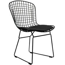bertoia wire chair. Harry Bertoia Style Wire Side Chair. Chrome, Black Or White Frame With Seat Pad Chair