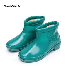 aleafalling new arrival thicken rainboots waterproof flat with woman shoes winter garden kitchen workers rubber ankle boots w184